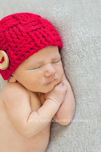 Newborn boy hat, newborn christmas hat - basketweave beanie - woven beanie