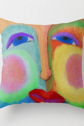 Colorful Abstract Face Pillow Cover Case My Funky Abstract Digital Face Painting