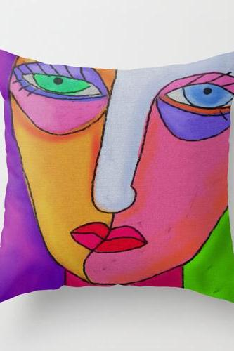 Funky Abstract Face Pillow Cover Case My Abstract Digital Face Painting