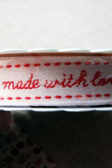ONE Reel X 3mtrs of 'made with love' ribbon/sewing tape.