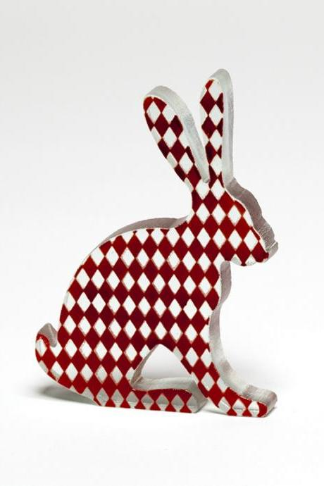 Red Harlequin Hare Glass Sculpture