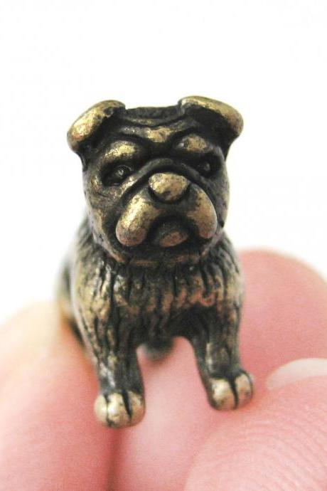 Small Fake Gauge Plug Bulldog Puppy Detailed Animal 3D Plug Stud Earrings in Brass
