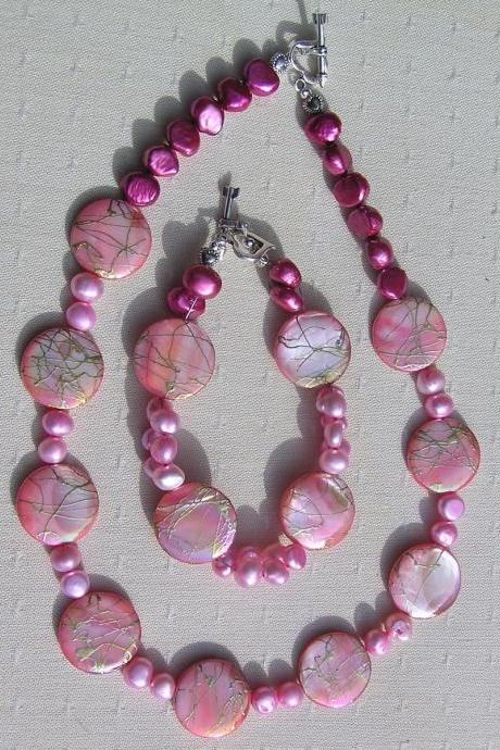 Necklace and Bracelet Set - Mother of Pearl and Freshwater Pearl - 'Pink & Gold Fantasia'