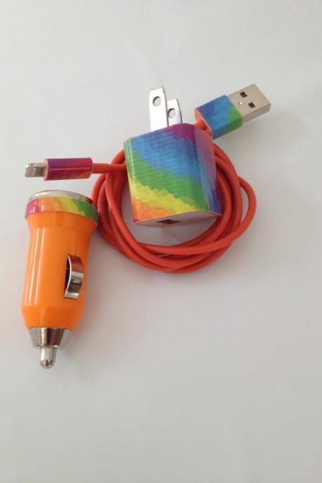 Colorful updated rainbow I Phone 5 Charger customized for you 3 In 1 charger.