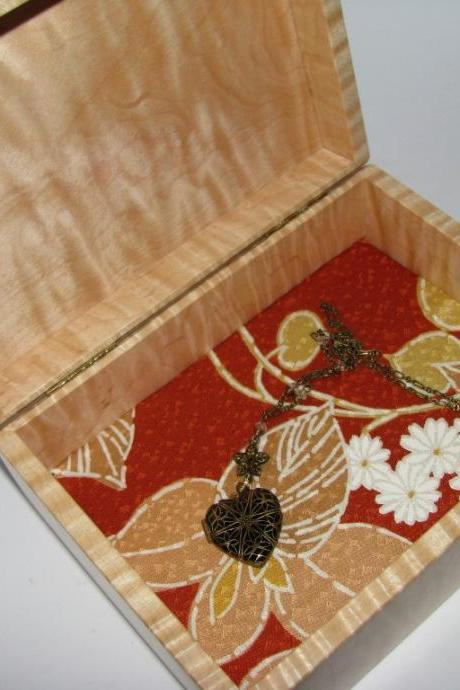 "Small Jewelry Box in Tiger Maple. Upholstered in Kimono Silk Fabric. 6.5"" x 5"" x 3"""