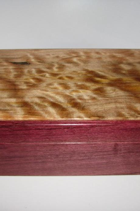 "Adorable Quilted and Spalted Maple Jewelry Keepsake Box with Purpleheart Sides. 9"" x 5.5"" x 3"""