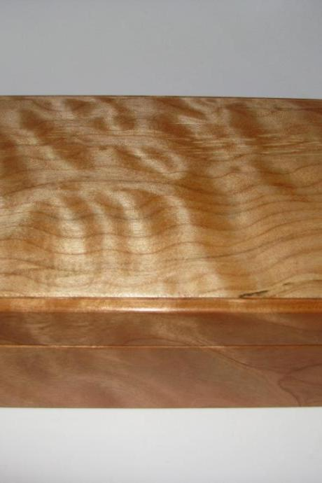Leather Lined Quilted Maple and Cherry Box. Small Box. 9' x 5.5' x 3'