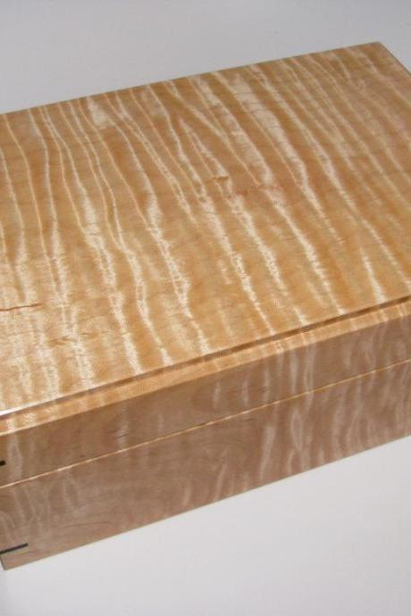 Stunningly Figured Tiger Maple and Ebony Memory Box with Black Leather.