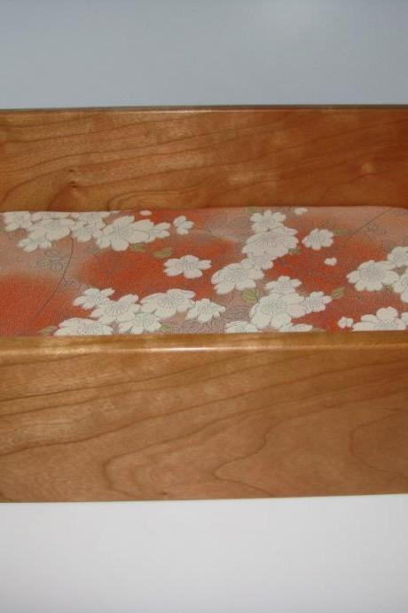 Elegant Wooden Tray in Cherry With Kimono Silk Lining 9' x 7' x 3'