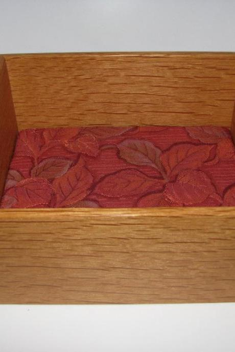 Kimono Silk Lined Wooden Tray in Tiger Oak. 7.5' x 6.5' x 3.5'
