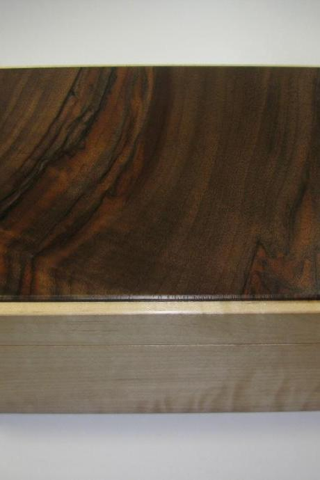 Handcrafted Marbled Claro Walnut and Tiger Maple Box. 10' x 7' x 4.5'