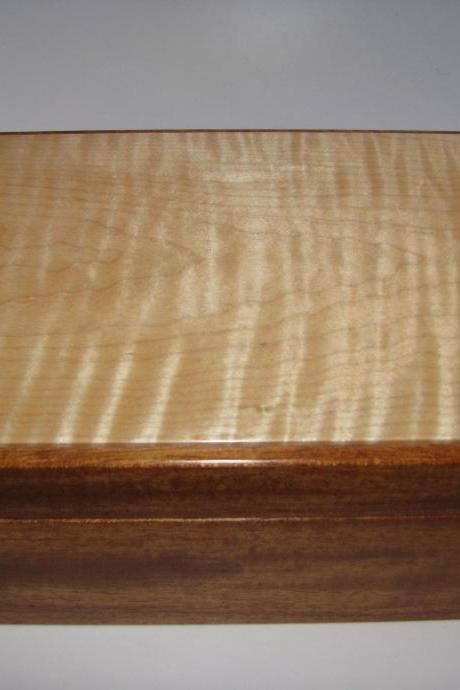 Handmade Tiger Maple and Mahogany Box. 8' x 5.25' x 3.75'