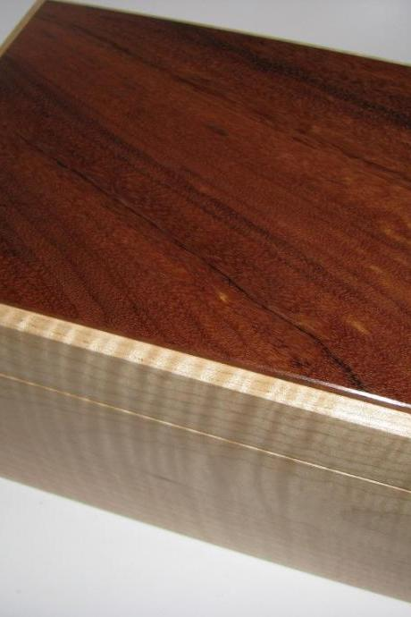 Kimono Silk Upholstered Box Made Wtih Tiger Maple and Koa. 9' x 6.5' x 5'