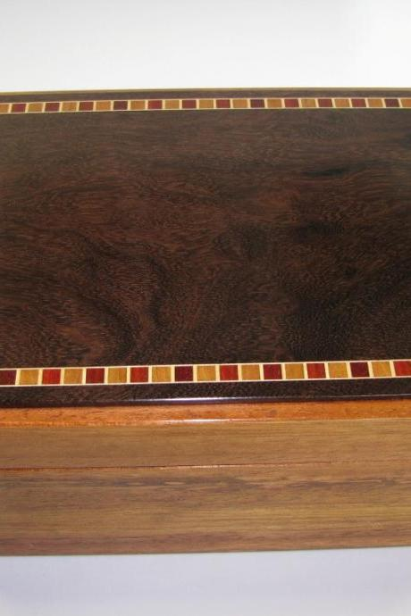Premium Keepsake Box Made From Exotic Lumber Species. Inlaid Top. High Gloss Finish. 8.25' x 6' x 4'