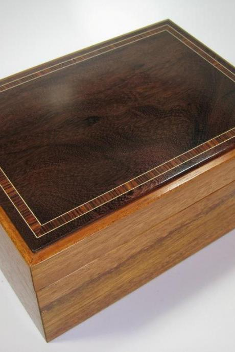 Brazilian Cherry and Katalox Keepsake Box with Inlaid Top and Upholstered Velvet Lining. 8' x 5.5' x 4'