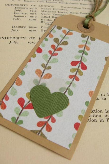 Stylish Green Floral gift tag bookmark