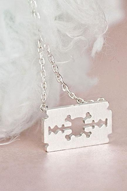 Silver Razor Blade Necklace, Skull Skeleton Cross Bones Cutout Charm