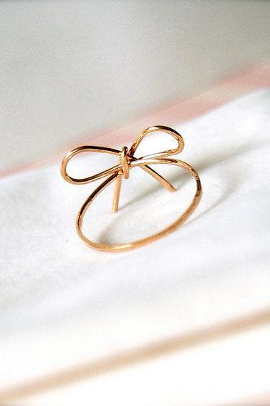 Ribbons -- Goldfilled Ribbon Rings -Wedding Momento, Bridesmaids Jewelry, Valentine Gifts, Everyday Rings, Handwrapped Bows