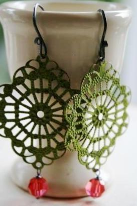 Garden Party Earrings - Brass Filigree in Spring Green