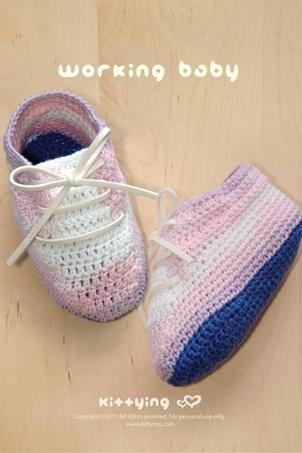 Working Baby Booties PATTERN, SYMBOL DIAGRAM (pdf) by kittying