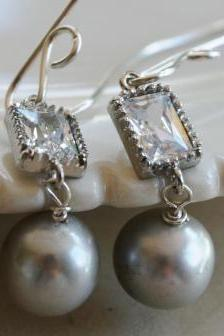 Cloud Earrings - South Sea Pearls, Glass and Sterling Silver
