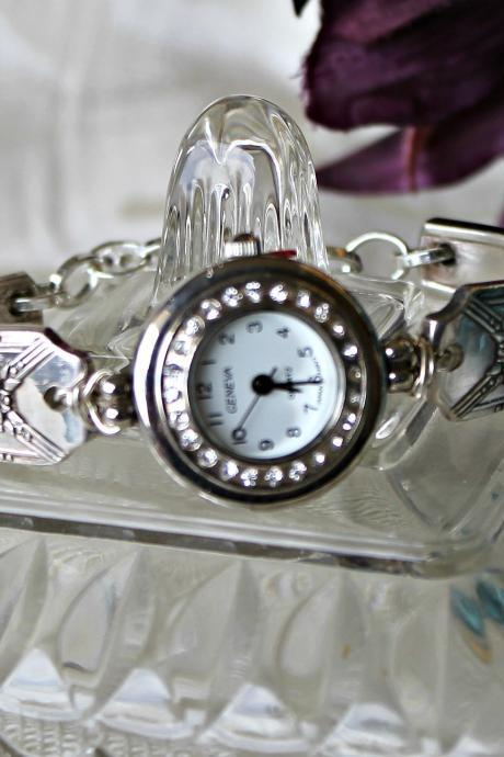 Silver and Rhinestone Silverware Watch