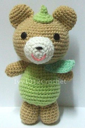 Green Leaf Teddy Bear - Handmade Amigurumi crochet doll Home decor Birthday gift Baby shower toy
