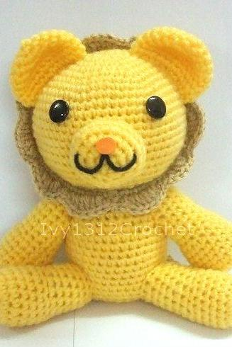 Golden Lion - Amigurumi Handmade crochet doll Home decor birthday gift Baby shower toy