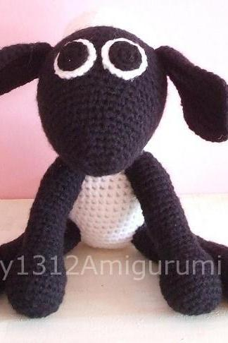 "Shaun the Sheep 6.7"" - Handmade Amigurumi crochet Disney doll Home decor birthday gift Baby shower toy"