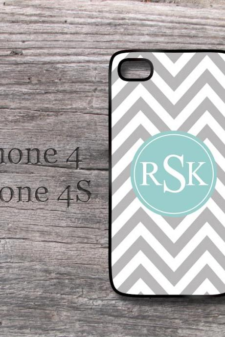 iPhone case gray chevron preppy monogram teal personalized iPhone 4 4S snap on cover
