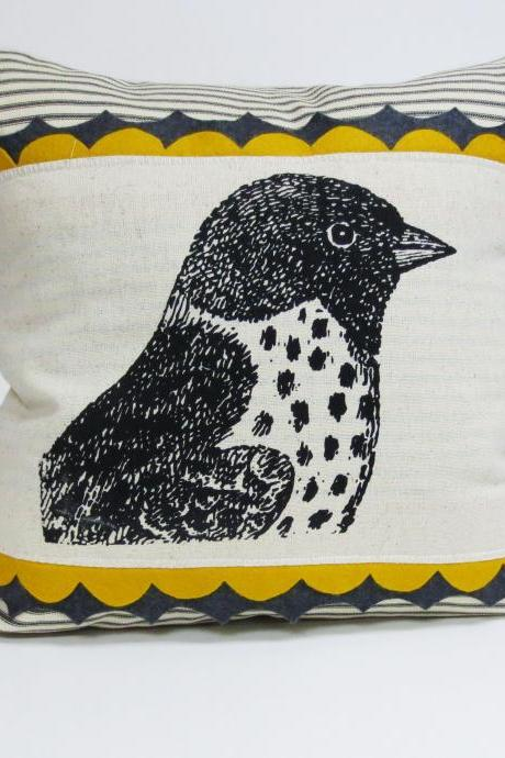 Sparrow Screen Print Pillow Cover