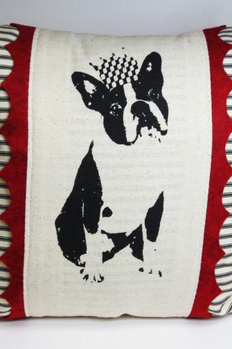 Screen Printed Boston Terrier or French Bulldog Pillow Cover
