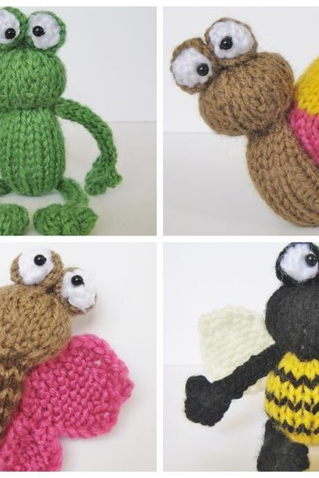 Frog and bugs toy knitting patterns