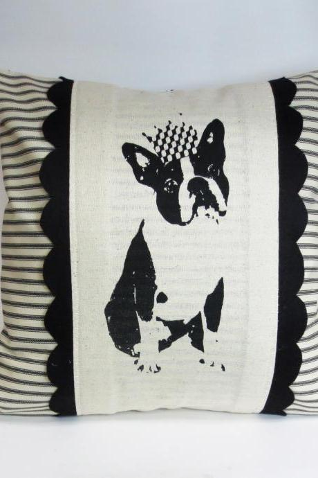 Screen Printed Boston Terrier or Frenchie Pillow with Black and Ivory Accents