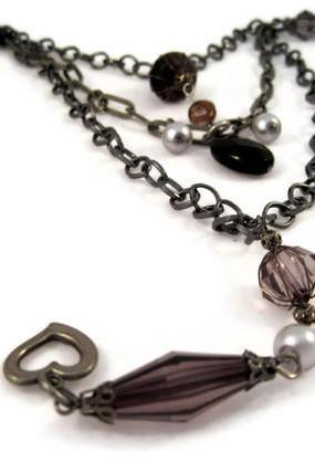 Necklace, Three Strand Chain Necklace with Heart Charm, Smoky Quartz Gemstone, and Crystal Pearls