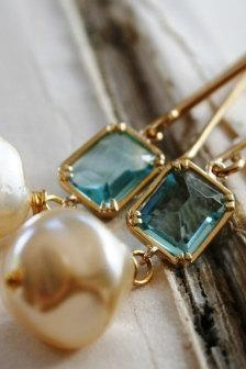 Brynn Earrings - Vintage Glass Pearls, Aqua Quartz Bezels and Gold