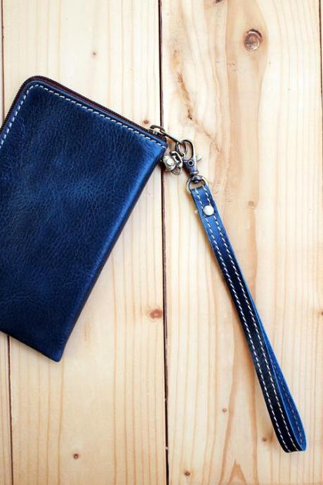 Leather Phone Bag, Slim type, Hand Strap, Blue