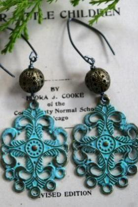 Filigree Verdigris Brass - Barcelona Earrings