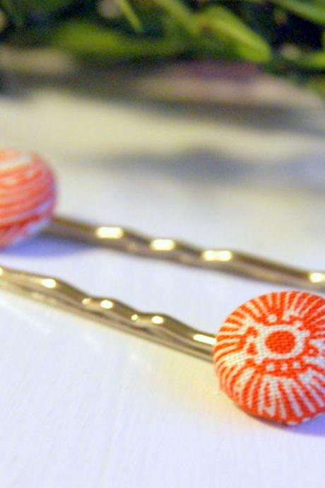 Orange and White Fabric Button Bobby Pins