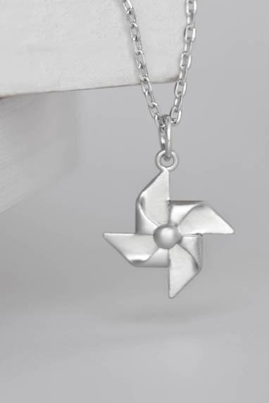 Silver Paper Pinwheel Necklace, Windmill Charm, Whimsical