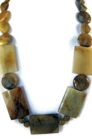Necklace, Beaded Yellow Jade Gemstone Necklace with Silver Toggle Clasp, Chunky