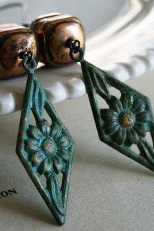 WEEDING OUT SALE - Trellis Earrings - Verdigris Pendants, Turquoise, Brass, and Oxidized Sterling Silver