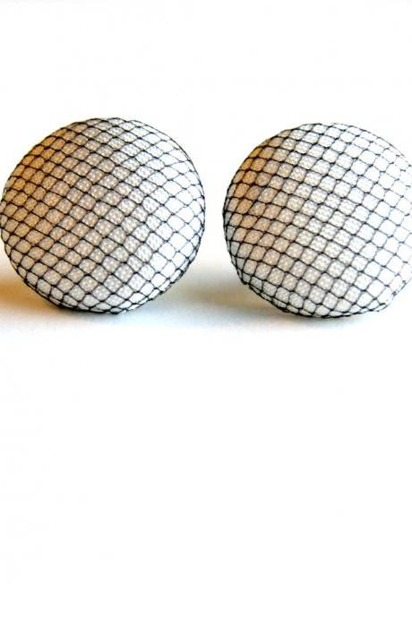 White and Black Tulle Fabric Stud Earrings