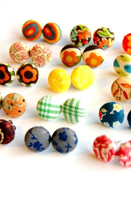 Design Your Own Fabric Stud Earrings - Set of Three