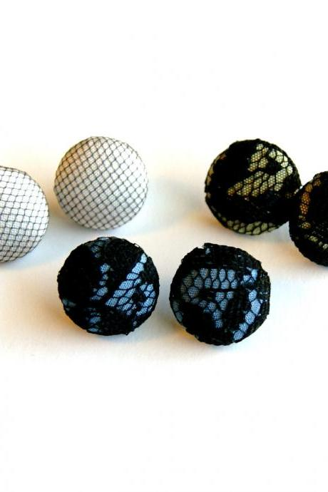 Black Lace and Tulle Fabric Stud Earrings - Set of Three