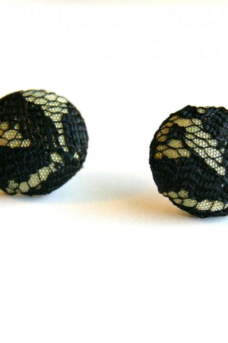 Gold and Black Lace Fabric Stud Earrings