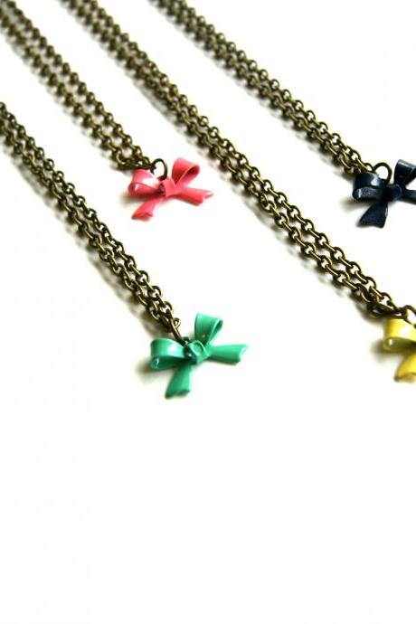 Bow Necklace - Choose Your Color (Aqua, Navy, Yellow, or Pink)