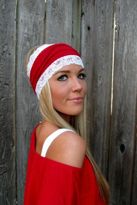 Red Cotton Jersey Knit Headband with Stretch Lace Trim