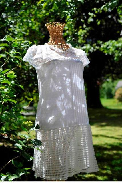 Flapper style old Hollywood look tunic dress , for wedding or party sheer white fabric in different textures