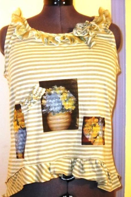 Striped cotton altered T shirt with screen printed flowers